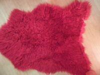 2 Faux Fur Sheepskin Rugs, Red