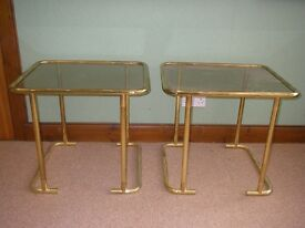 Metal-Framed Glass Coffee Tables (2)