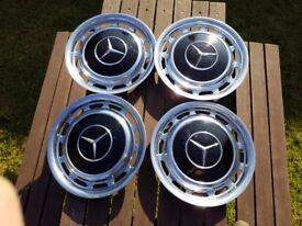 4 Classic Metal Mercedes Hubcaps