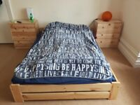 Double bed with twoo chests of drawers