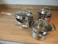 Marks & Spencer Copper Bottom Stainless Steel Saucepans (3)