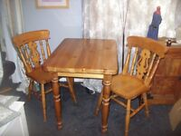 CHUNKY PINE DINING TABLE AND 2 CHAIRS