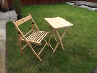 Folding table and single chair set