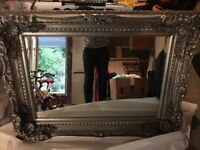 French ornate gold/silver wall mirror
