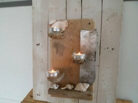 Driftwood /metal shelf tealights shells included