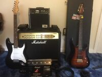 Complete gig set ready to rock :2 Aria guitars, Marshall amp foot pedals all in great condition