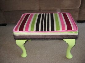 REFURBISHED CHIC FOOTSTOOL CANDY STRIPE VELOUR AND 'AUTENTICO' GREEN TEA FINISH ON FRAME