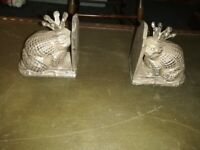 CAST IRON FROG PRINCE BOOK ENDS/DOOR STOPS