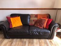 FREE Brown Leather 3 Seater Couch