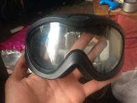 Blue space skiing/snowboarding goggles