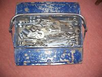 40 Spanners in metal toolbox -Elora, Matador, Superchrome etc and 16 piece socket set