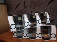 Set of 6 glasses. A pretty, stylist design. Priced to sell £3