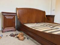 Waring & Gillow Bedroom furniture Sleigh Bed Triple Wardrobe Tall Boy Chest
