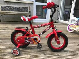 """Boys 12"""" 'fire engine' style bike with stabilisers"""