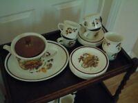 Midwinter Tea service, Teapot, jug, sugar bowl, cups,saucers, plates, server platter.