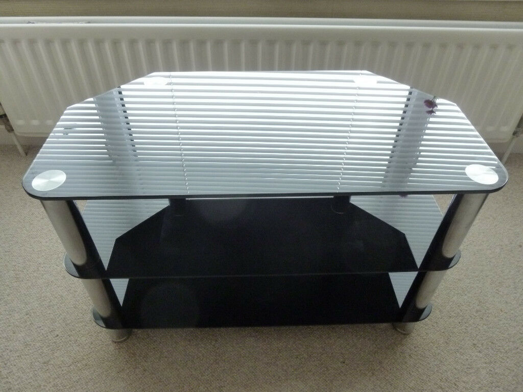 TV stand, glass with chrome legs