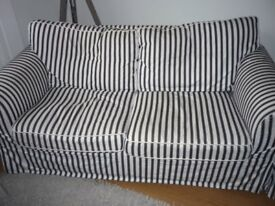 IKEA BLUE AND WHITE STRIPED SOFA WASHABLE COVERS