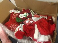 new joblot christmas stock, stockings, hats, aprons sacks , chair covers loads more