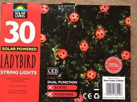 ( New and Sealed ) 30 Insect Solar String Lights - Ladybird
