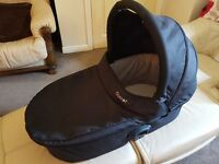 Oyster Carrycot with Black and Ocean Blue Colour Packs, mattress and rain cover.