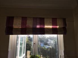 Lilac and cream stripped blinds