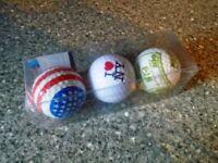 3 X USA GOLF BALLS-FRANKLIN 100 DOLLAR-I LOVE NY-USA FLAG-UNUSED BOXED