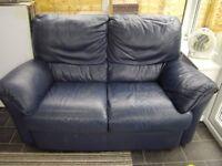 Natuzzi Navy Blue Leather 2 x 2 seater sofas settees