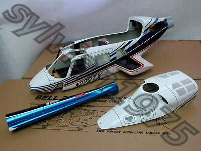 (NEW Version FunKey 700 size BELL 222 Scale Fuselage + Retract Landing Gear -Blue)