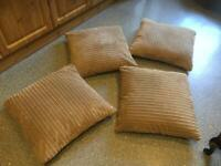 4 x EXTRA LARGE ( 24 x 24 inches ) reversible cushions 2 with cheque pattern on the back.
