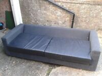Large Black Leather & Cloth Sofa - DELIVERY AVAILABLE