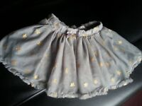grey skirt with golden stars - balet style 1.5-2 years