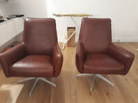 NEW 2 x Habitat Toulouse Mid-Tan Leather armchairs