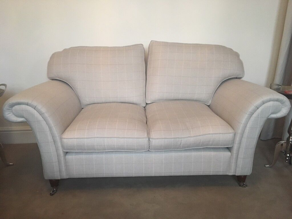 Laura Ashley Mortimer 2 Seater Sofa In Silver Elmore Check