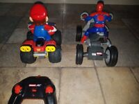Mario quad bike and Marvel spiderman Quad bike toys