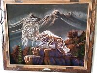 Oil on Black Velvet Native American Wolf Spirit and Wolf