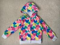 Girls M&S Multi Coloured Heart Zip Up Hoodie Jacket. Age 3-4 years