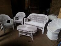 White painted Wicker conservatory suite