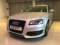 AUDI A3 2.0 S3 TFSI QUATTRO S LINE BLACK EDITION 3d 261 BHP FREE DELIVERY TO YOUR DOOR (silver) 2011
