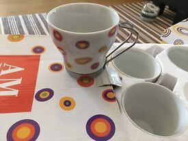 Espresso cups with metal handles