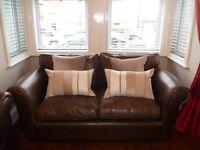Laura Ashley Granton 2 seater Sofa in Smokey Leather x 2