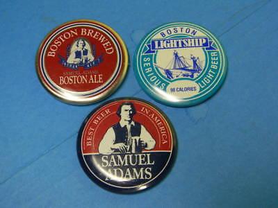 3 CRAFT BREWERY BEER PINS PINBACK SAMUEL ADAMS BOSTON MASSACHUSETTS NAUTICAL