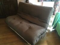 High quality solid pine futon with chocolate brown mattress