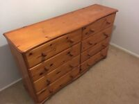 Antique Pine Chest of Drawers. Beautiful unit with 8 solid wood drawers