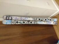 Salomon Suspect 181 Skis and bindings, twin tip, recently serviced and waxed, poles and bag included