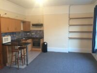 Studio flat in St Leonards. Large room with kitchen area and shared bathroom with one other.