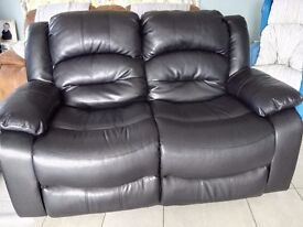 Black leather recliner two x two sofas