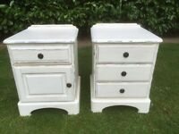 Two hand painted solid ducal pine bedside cabinets