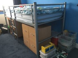 Strong Single Metal Cabin Bed with mattress, chest of drawers, desk and bookshelf