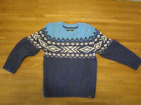 blue knitted jumper, Norwegian style, size 4-6 years