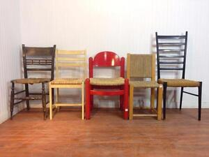 MTL's Largest selection of used CHAIRS VINTAGE RETRO ANTIQUE MODERN Chaises usagées Ikea Danish Miller Steelcase Wicker